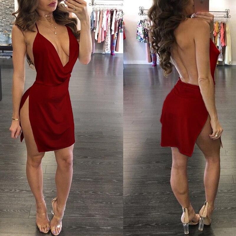 Summer Solid Color Backless Halter Dress Side Open Deep V-neck Sexy Dress Women Temperament Sleeveless Mini Dress