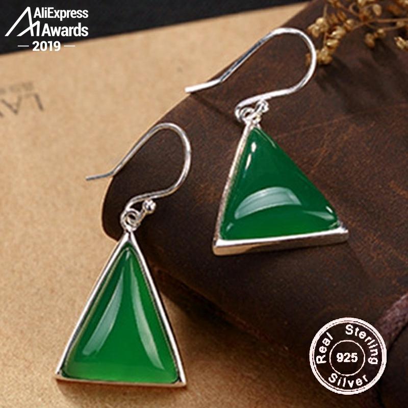 Não falso s925 jóias finas brincos triângulo brincos de luxo gosto feminino artesanal vintage natural esmeralda moldavite peridot