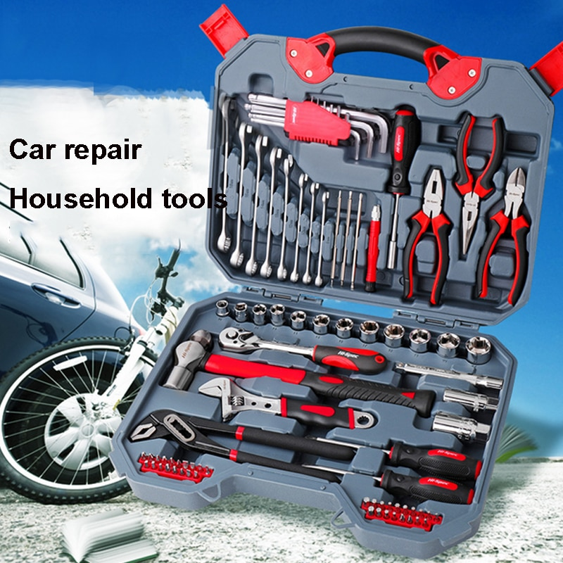 hot pro skit pk 2028 household repair hand tool set electrician pliers driver bit set wrench tool kit tool box Hand Tool Set General Household Repair Hand Tool Kit with Plastic Toolbox Storage Case Socket Wrench Screwdriver pliers Hammer