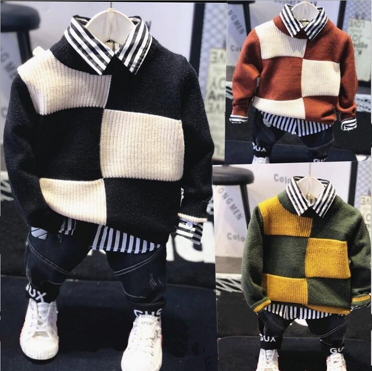 Nouveau bébé garçons automne hiver sport costume 3 pièces ensemble enfants vêtements ensembles tricot pull + chemise + jean décontracté garçons vêtements ensemble 2-6
