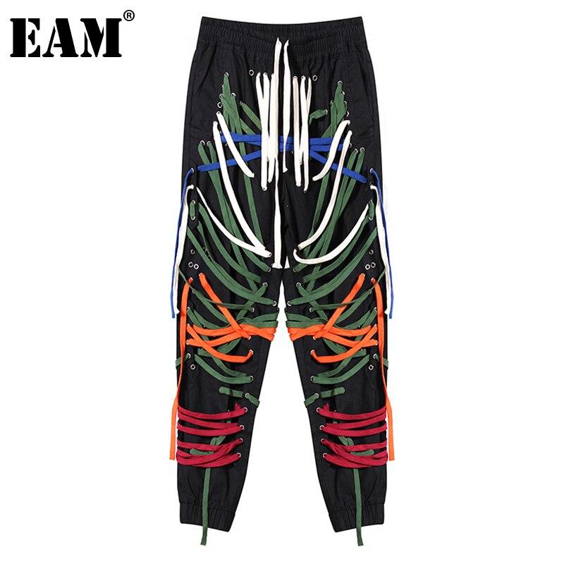 EAM-بنطلون أسود عالي الخصر للنساء ، بنطلون بقصة فضفاضة ، رباط ، متعدد الألوان ، موضة المد ، ربيع خريف 2021 1000