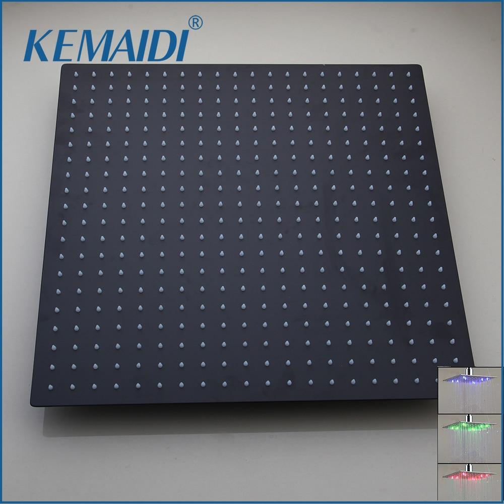 KEMAIDI Schwarz LED Platz Regen Edelstahl Dusche Kopf 8 ~ 20 Zoll Ultradünne Wahl Bad Wand & Decke Montiert