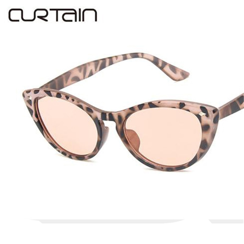 CURTAIN Fashion Cat Eye Sunglasses Women Luxury Brand Designer oculos Vintage Sun Glasses Female Men