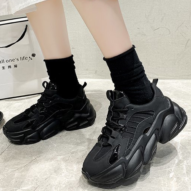 Women's Vulcanized Shoes Lace Up Ladies Platform Casual Comfort Shoes Women Chunky Sneakers Spring Female Footwear New Fashion