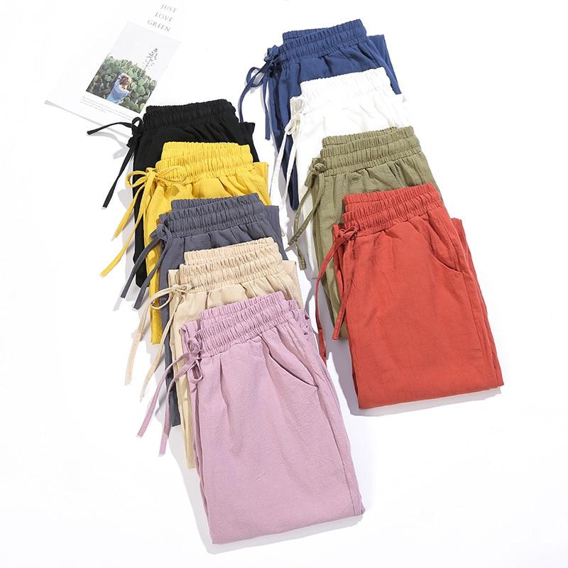 Woman Summer Harem Pants Vintage Candy Colors Cotton Linen Wide Leg Pants Solid Elastic Waist Ankle-