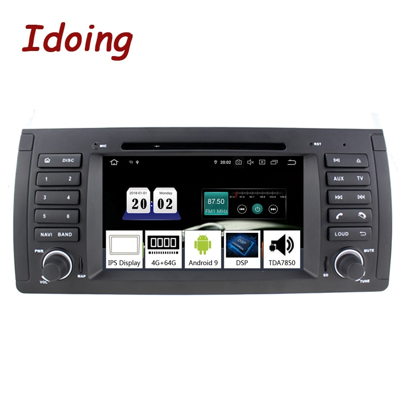 "Idoing 7 ""Android 9,0 coche Auto Radio Multimedia reproductor de DVD 1 Din sistema estéreo para BMW E39 X5 E53 Octa Core 4G + 64G DSP NO 2 din"