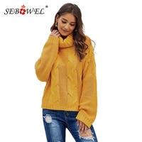 SEBOWEL Fashion Woman Turtleneck Cable Knit Sweaters Oversized Drop Shoulder Pullovers Sweater Female Warm Autumn Winter S-XL