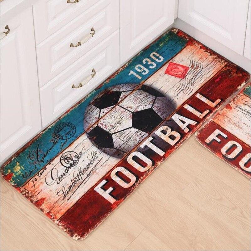 2020 alfombra de baño KitchenHome, alfombra de fútbol para puerta Retro, Alfombras absorbentes antideslizantes, Tapete de tiras