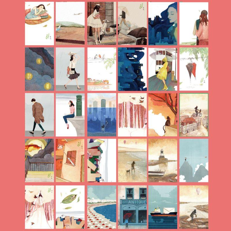 30 hojas, pinturas Happyness, Retro, Vintage, postal, regalo de Navidad, tarjeta de deseo, póster, tarjetas