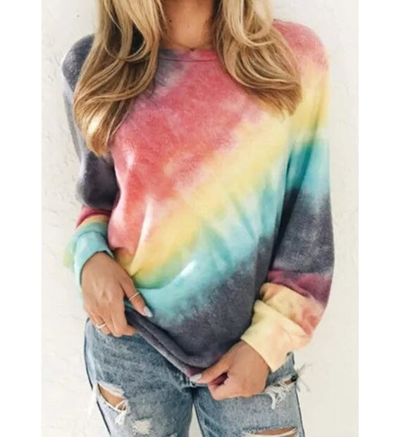 Womens leisure wear Autumn and Winter Hoodie Gradient of color coat Colorful