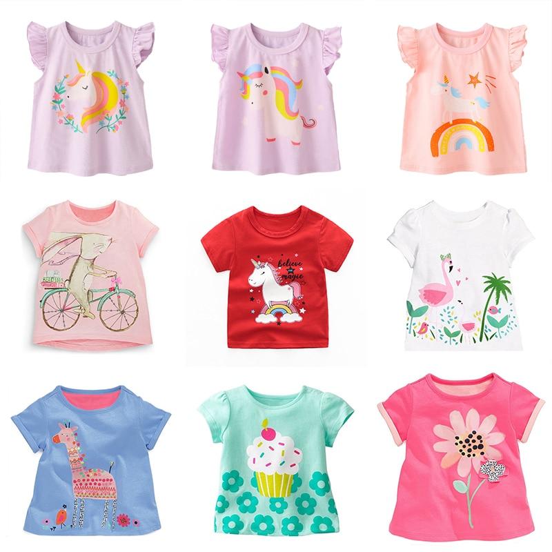 Kids Girls Summer Cartoon Clothes Baby Tshirt Children Unicorn Clothing Kids Graphic T Shirt Tee kids sequins heart graphic tee