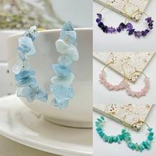 2021 Trendy Natural Stone Big Round Hoop Women's Earrings Handmade Statement Earring Accessories Jew