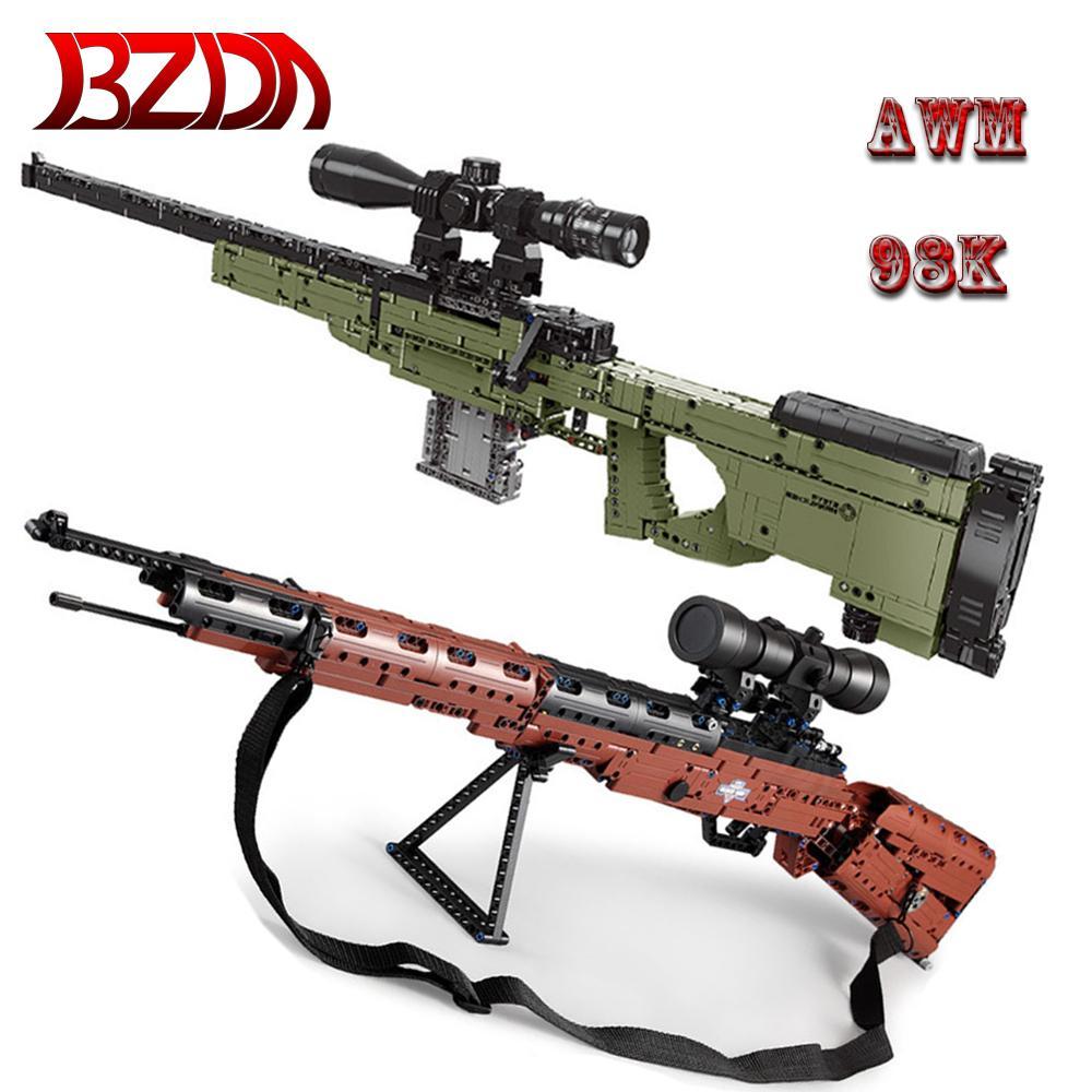 BZDA PUBG AWM 98K Sniper Rifle Desert Eagle Pistol 95 Automatic Rifles Gun Building Blocks Toys For Birthday Gifts