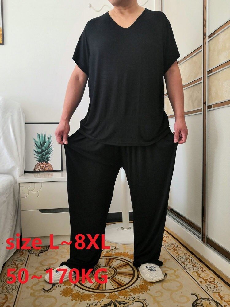 Conjuntos de pijamas masculinos  modal casa wear conjunto plus tamanho 7xl 8xl 50-170 kg macio casual sleep wear manga curta
