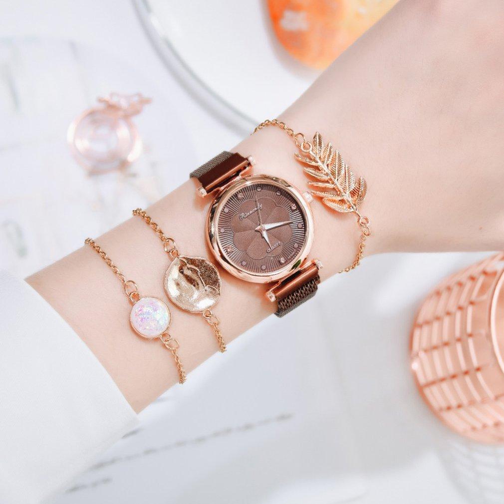 Fashion 2pcs Set Women Watches Luxury Magnet Buckle Flower Rhinestone Watch Ladies Quartz Wrist Watc