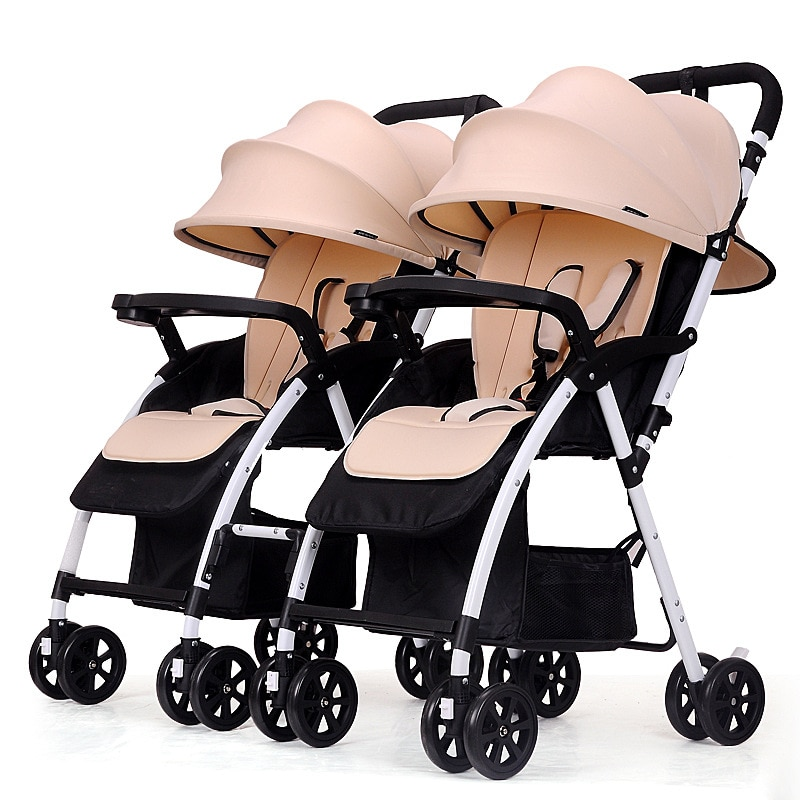 Lightweight Twin Baby Stroller Double Trolley Foldable Can Be Flat and Detachable Two-way Implementation Baby Carriage 0-36M enlarge