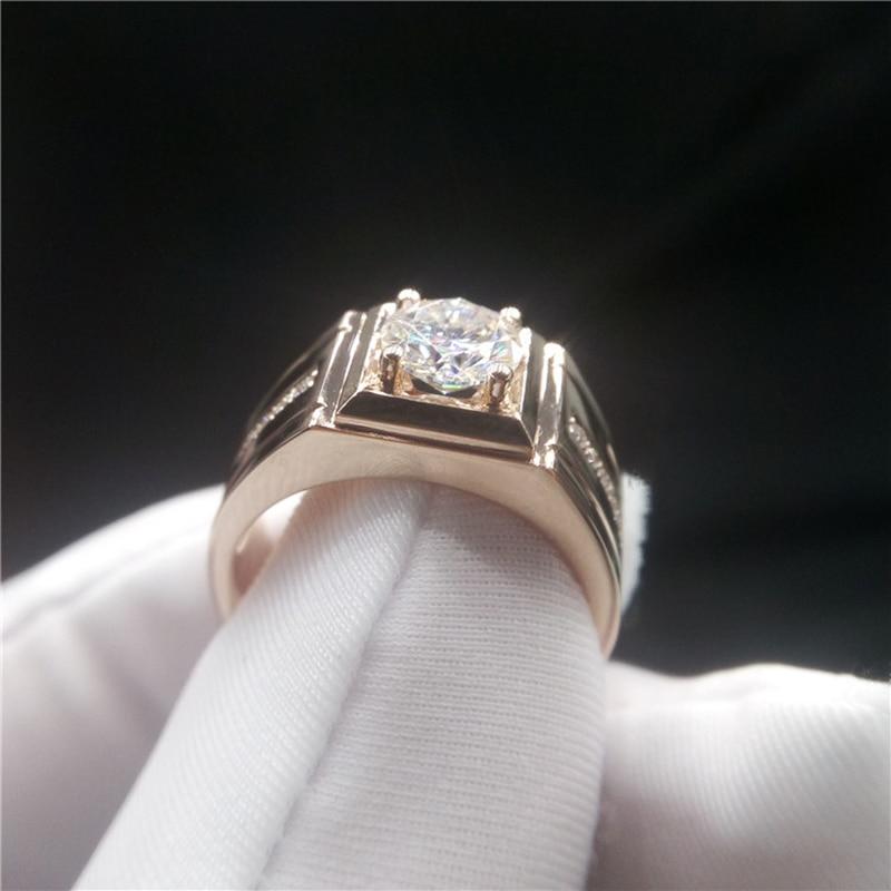 14K الذهب الأبيض مويسانيتي خاتم ممتاز قطع 1ct قيراط D اللون رجل خاتم الزفاف خاتم للذكرى الفاخرة مويسانيتي مجوهرات