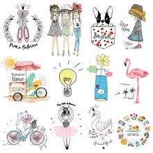 Милая нашивка для девочек с изображением маленьких животных, собак, кошек, наклеек для одежды, наклеек для детей, для мальчиков, сделай сам, нашивки, Детская футболка, термопечать, винил