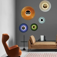 nordic modern minimalist wall sconce lights living room bedroom bedside porch round background personality wall lamp