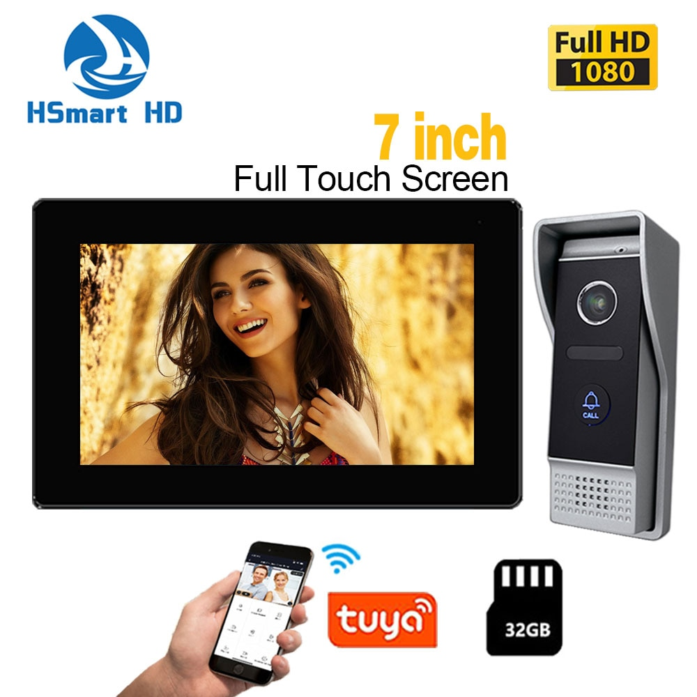 HD Smart 7 inch 1080P IP WIFI Video Intercom for Home Monitor Entry System AHD Resolution Doorphone Frame with 2.0MP Camera
