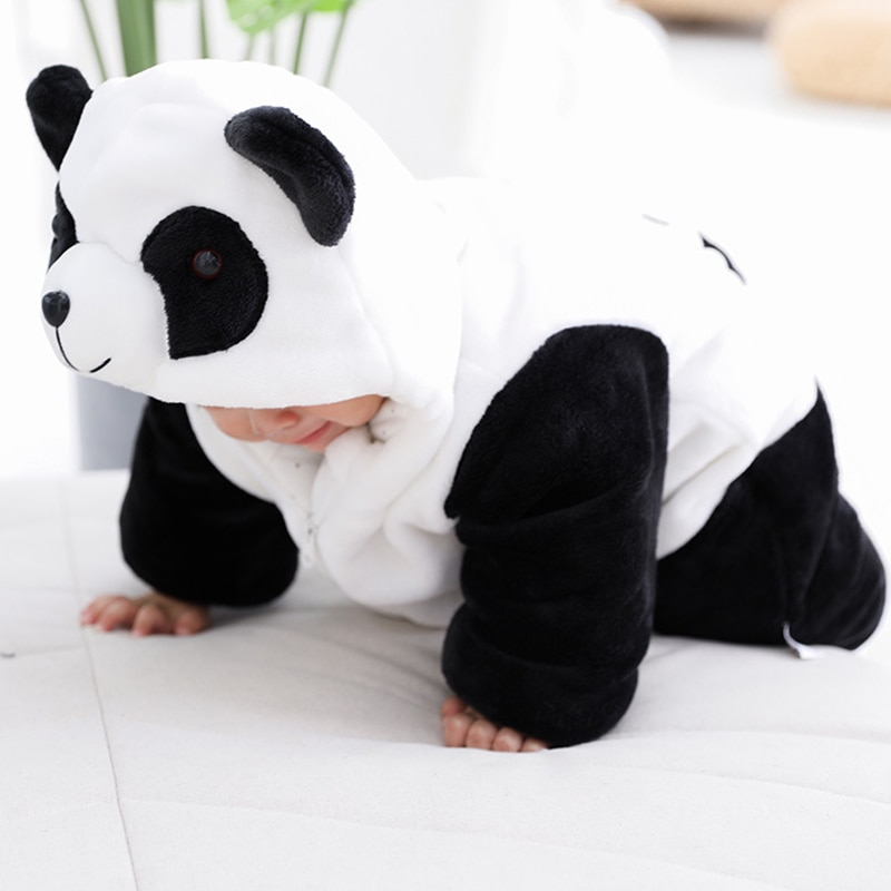 baby rompers kids infant winter newborn flannel jumpsuit pajamas thickken warm boys clothes girls hooded coat pant 2pcs set w142 Baby Winter Romper Warm Flannel Plush Jumpsuit Girls Boys Cute Panda Animals Newborn Pajamas Baby Clothes Overalls Kids Rompers