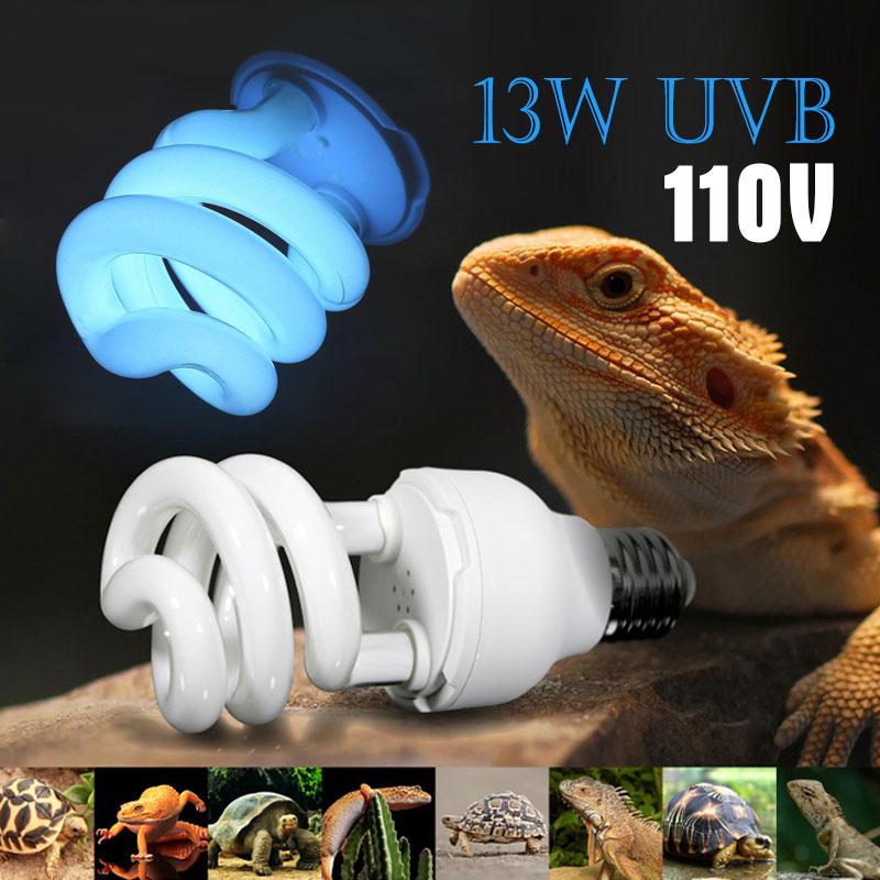 Lámpara ultravioleta de ahorro de energía 110V lagartija 13W luz E27 portátil rosca de bombilla de luz comprimida bombilla de Reptiles tortuga de calcio