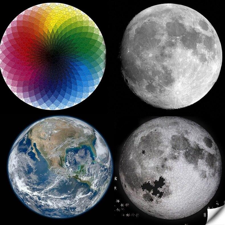 Пазл s 1000 штук Радужная круглая головоломка Луна земля Пазлы для взрослых детей DIY развивающая игрушка пазл