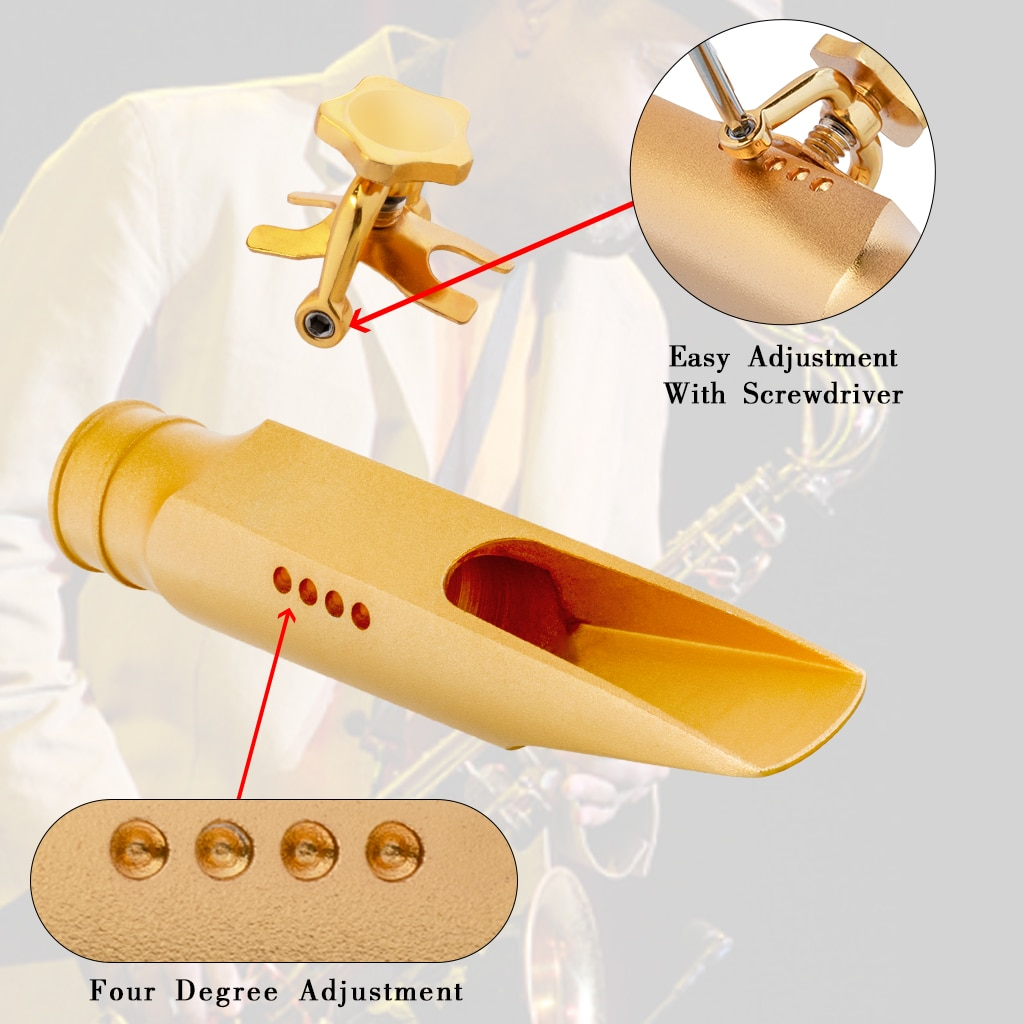 PRO Sax Bb Tenor Saxophone Mouthpiece Gold Plated Size 5.6.7.8.9.10 Medium Chamber Straight Baffle Saxophone Parts Accessories enlarge