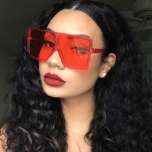 2021 Oversized Square Sunglasses Women New Luxury Brand Trendy Flat Top Red Blue Clear Lens Vintage
