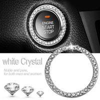 4cm/1.57in Car Start Switch Button Decorative Ring Artificial Bling Diamond Rhinestone Ring Circle Trim Car Interior Accessories
