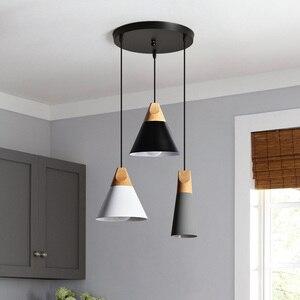 Nordic Led  Pendant Lights Wooden Aluminum Colorful Connected Art Originality Lampshade Pendant Lamp Suspension Luminaire