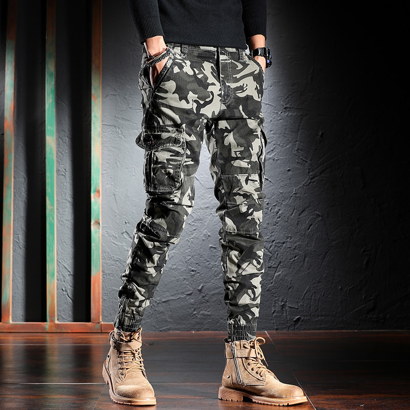 Korean Style Fashion Men Jeans Loose Fit Multi Pockets Casual Cargo Pants Hombre Streetwear Camouflage Hip Hop Joggers Trousers