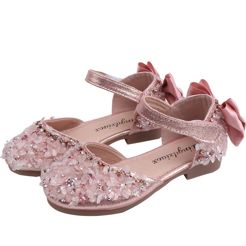 Girls Summer Beach Sandals With Square Rhinestone Butterfly-knot Hook & Loop For Baby Girl Kids Leather Wild Shoes Wedding Party