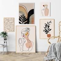 Peinture abstraite en toile pour visage et dos de fille  affiche dart mural minimaliste  imprime  image nordique  decor de maison