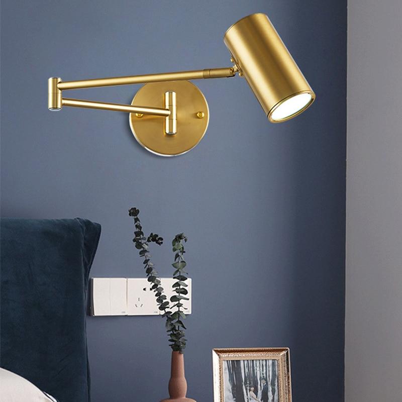 Homhi الذهب الحديثة إضاءة داخلية تركيبات الشمال الإنارة الذراع قطب السرير العتيقة الجدار مصباح مصابيح للقراءة طويلة HWL-070