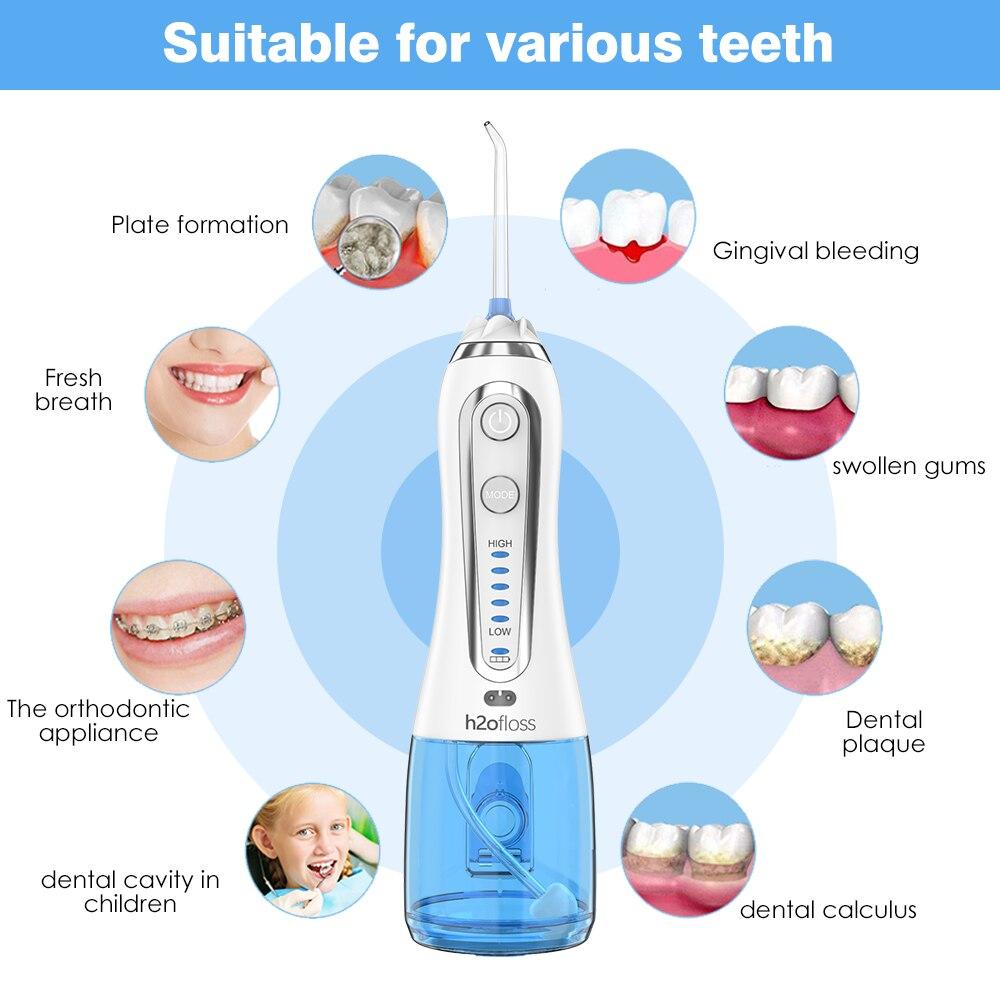 Monddouche Usb Oplaadbare Draagbare Dental Water Floss 5 Modi 300Ml Monddouche Dental Tanden Cleaner + 5 Jet tip & Bag enlarge