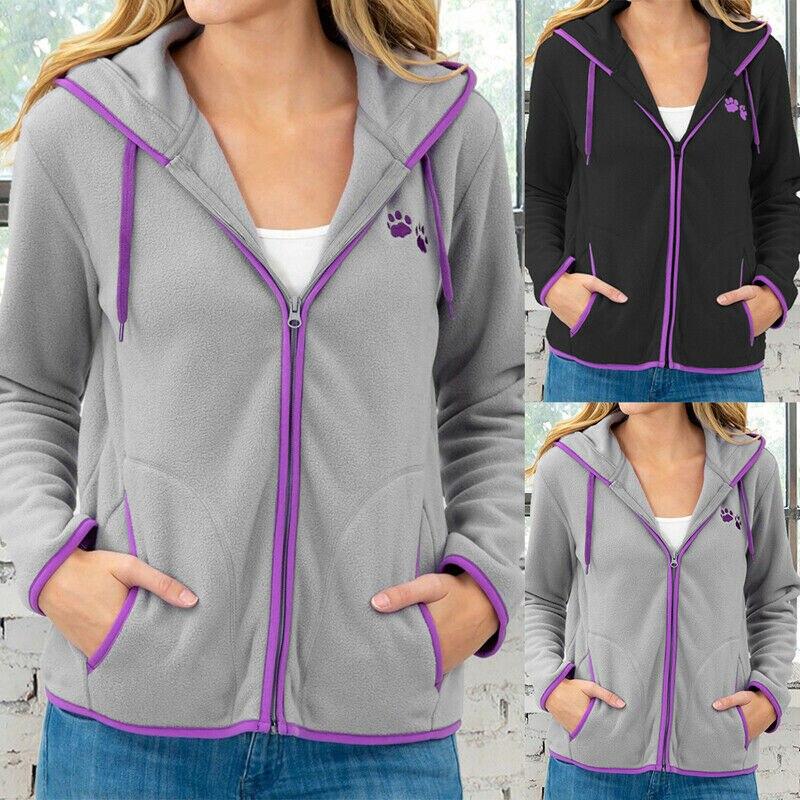 Women Coat Jacket Casual Zipper Jackets Sport Solid Long Sleeve Pull-Rope Coat