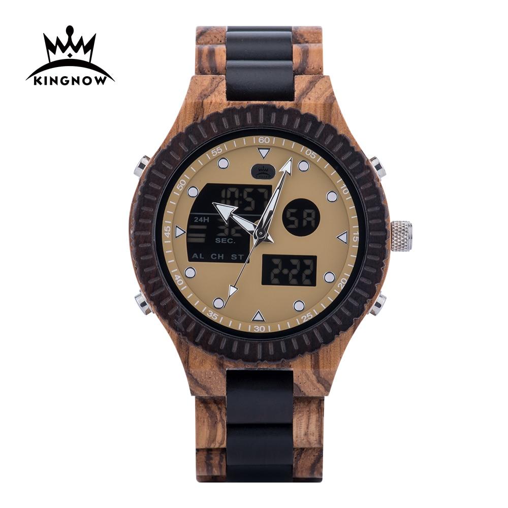 KINGNOW ساعة رجالي ساعة خشبية الذكور الرقمية للرجل 2020 الساعات الرقمية رجالي 2020 ساعة اليد الإلكترونية ساعة الخشب الساعات