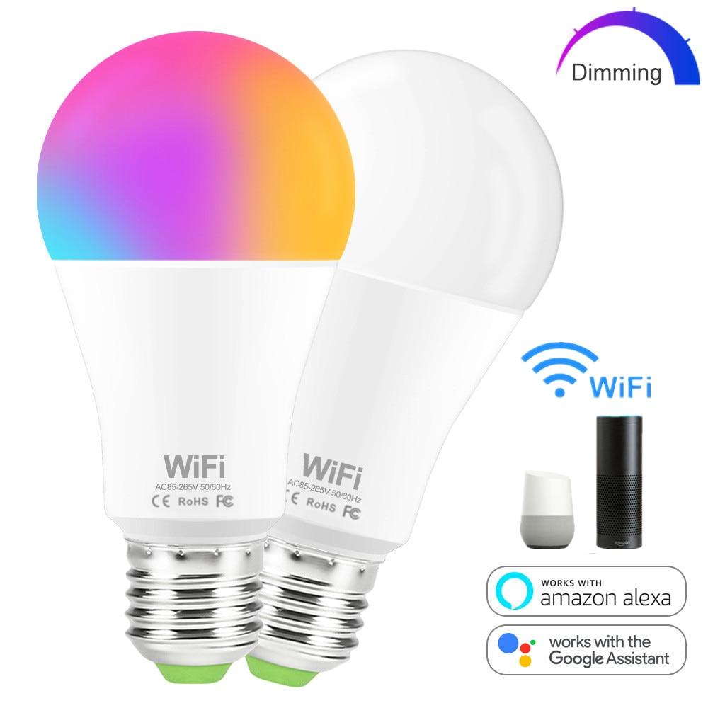 Bombilla inteligente E27 B22, WiFi, iluminación para el hogar, lámpara Led de 15W RGB/Blanco/blanco cálido, Bombilla inteligente regulable para trabajar con Alexa/Google Home
