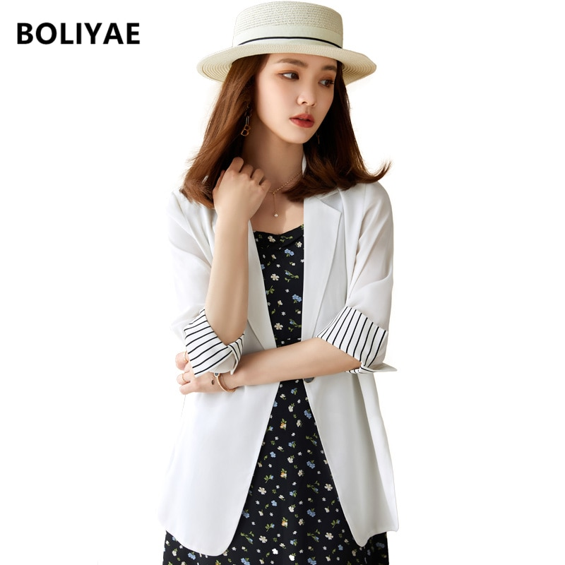 Boliyae 2021 White Women Blazers Spring Autumn Single Button Casual JacketsOffice Suits Slim Solid F