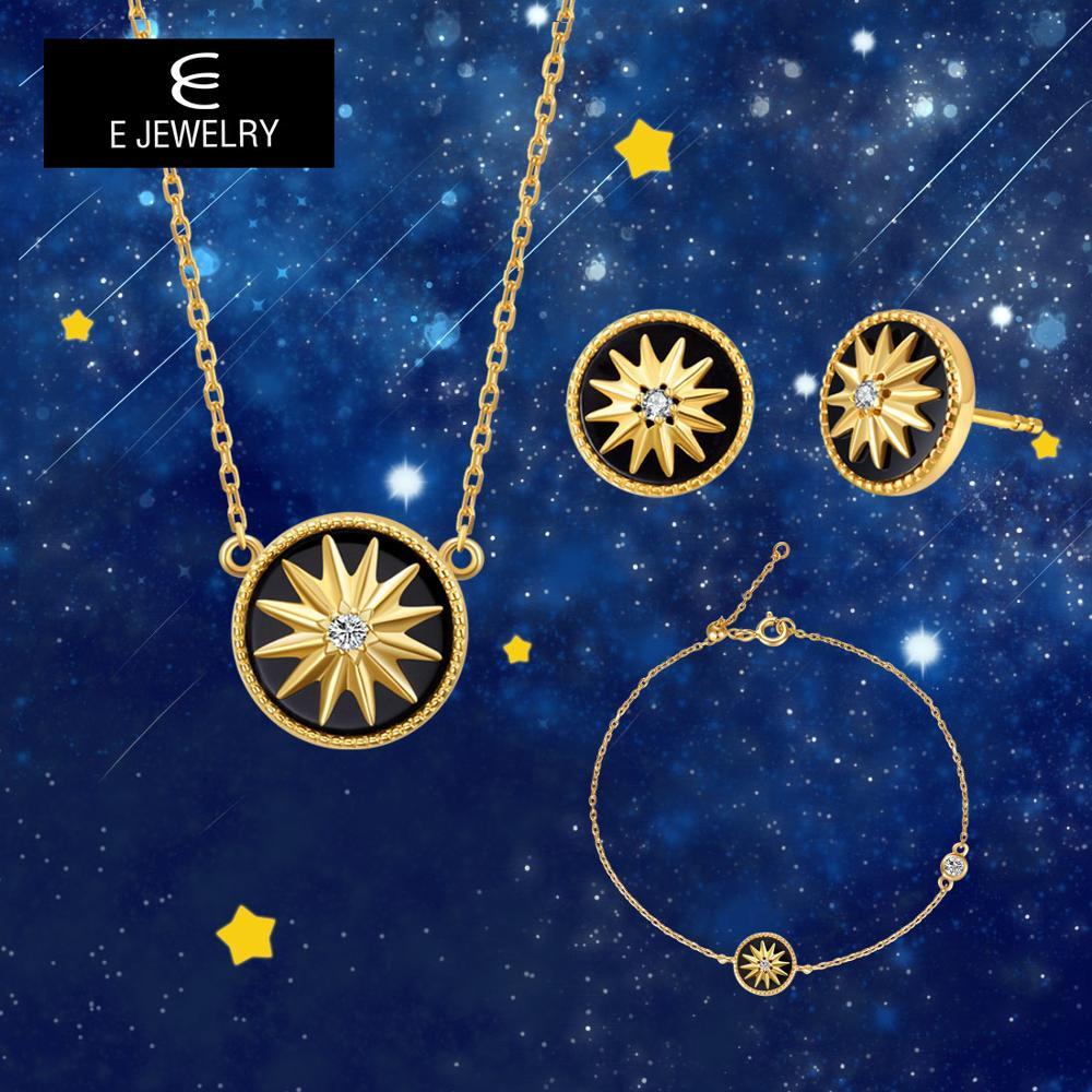 E 925 conjuntos de joias de prata, para mulheres 18k cor de ouro estrela colares redondos brincos corrente pulseira conjunto de pedra preciosa joias,