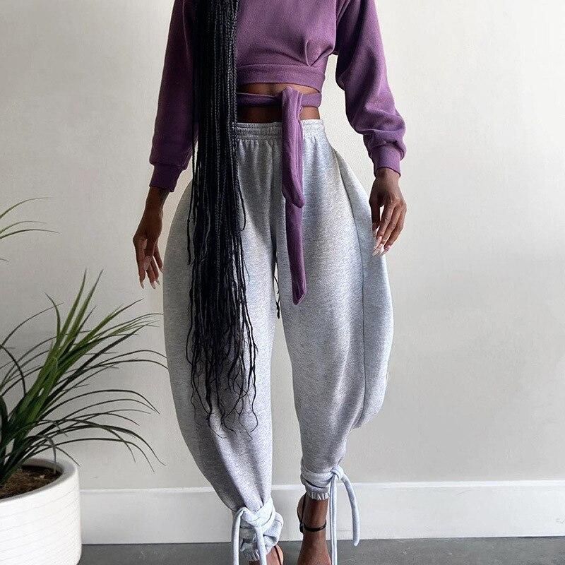 Мешковатые шаровары Y2K с завязкой и высокой талией, женские свободные длинные брюки, тренировочные штаны, модные повседневные бандажные ули...