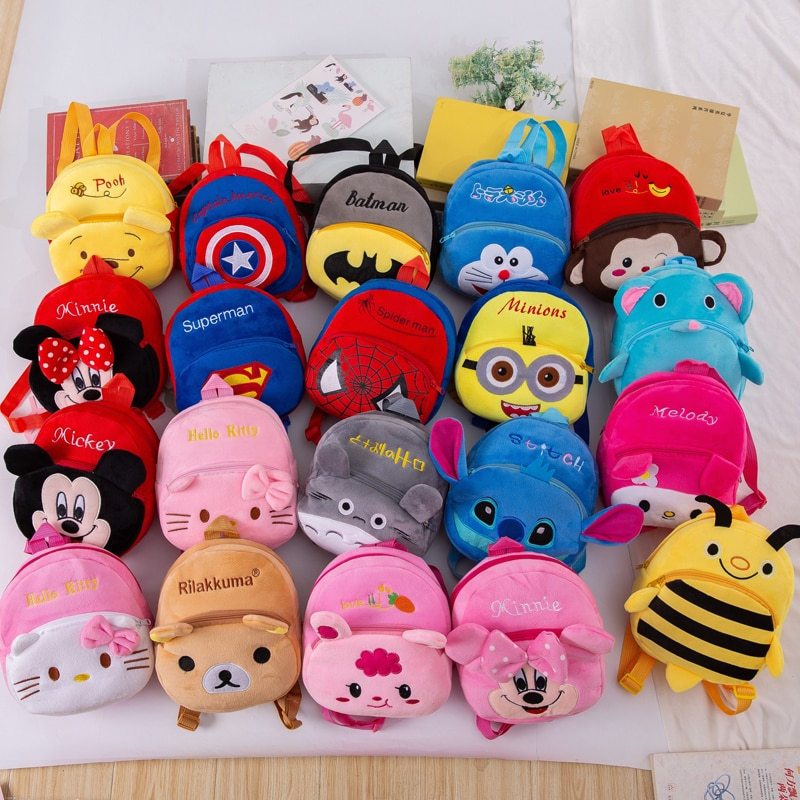 Disney Cute Cartoon Plush Toys Mickey Mouse Minnie Winnie the Pooh The Avengers Figures Backpack Kid
