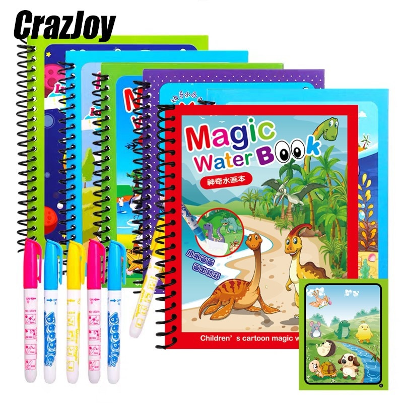 1pcs Magical Book Water Drawing Montessori Coloring Cartoons Books Doodle Pen Painting Drawing Board For Kids Toys Birthday Gift