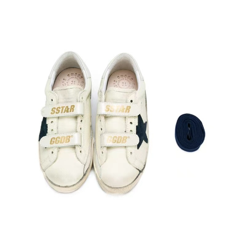 Spring and Summer New First Layer Cowhide Children's Old Small Dirty Shoes Boys and Girls Casual Velcro Kids Sneakers CS181 enlarge
