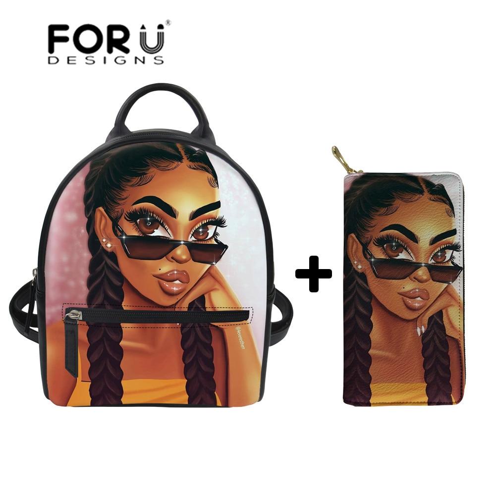 FORUDESIGNS Womens Shoulder Backpack African Girls Black Art Mini Backpack Ladies PU Leather Shoulder Bags for Females Bagpack