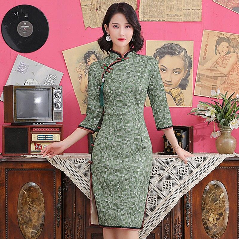 Vestido de fiesta de noche Qipao con botones Vintage de media manga Cheongsam de cuello mandarín largo chino de talla grande 3XL 4XL