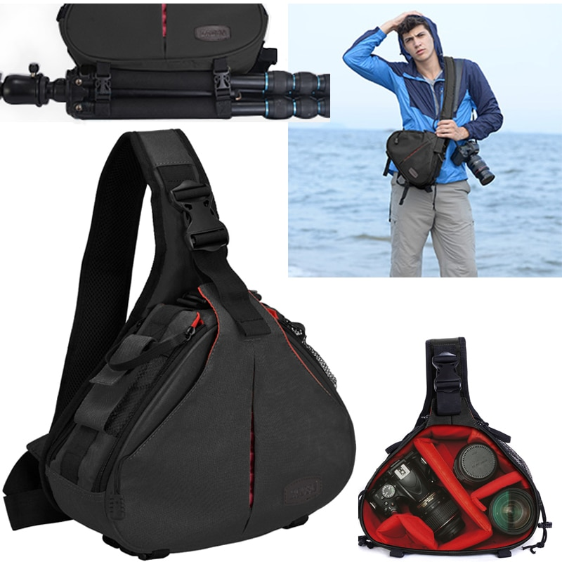 CADeN-حقيبة كتف للكاميرا الرقمية DSLR ، حقيبة كتف مقاومة للماء ، حافظة مبطنة مع غطاء للمطر لكانون سوني