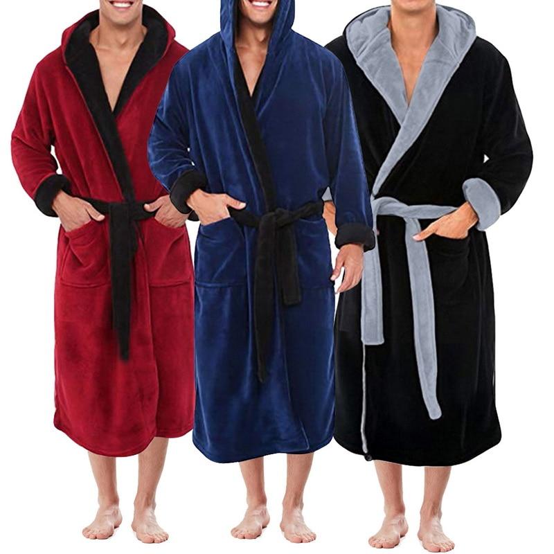 Men's Winter Lengthened Plush Shawl Bathrobe Home Clothes Long Sleeve Robe Coat Bath Robe Peignoir H