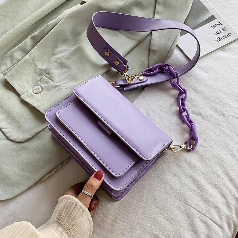 تصميم سلسلة جديدة صغيرة بولي Leather حقائب جلدية رفرف للنساء 2021 الصيف سيدة حقيبة يد الإناث الموضة عبر الجسم حقيبة